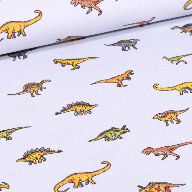 Tissu Coton imprimé Diplodocus & cie sur fond Gris clair