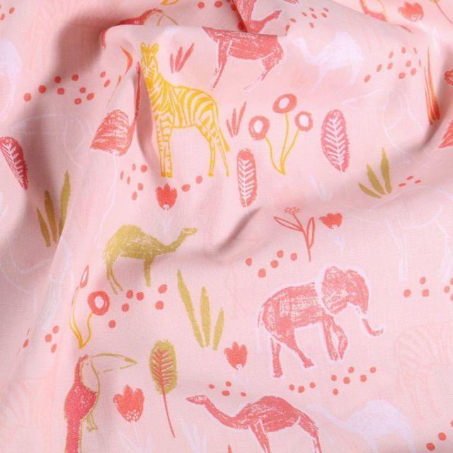 Tissu Coton imprimé LittleBird Animaux Divers sur fond Rose - Par 10 cm