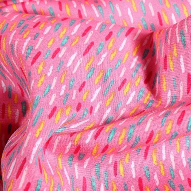 Tissu Coton imprimé Vermicelles colorés sur fond Rose - Par 10 cm