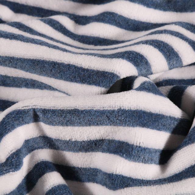 Tissu Jersey Velours Coton Rayures bleu denim sur fond Blanc - Par 10 cm