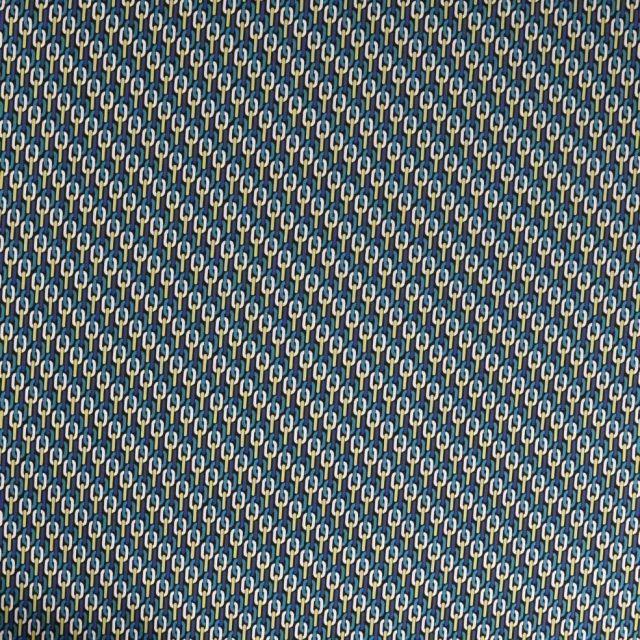 Tissu Satin imprimé Motif chaîne vert et bleu sur fond Noir - Par 10 cm
