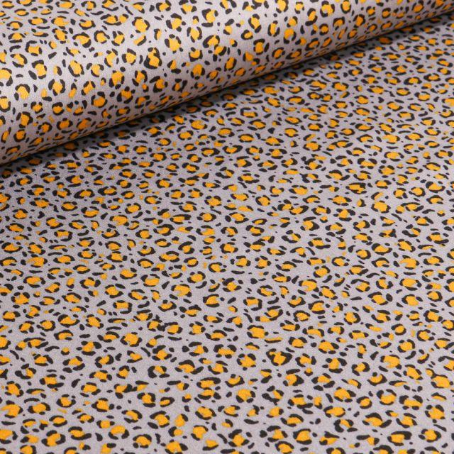 Tissu Satin imprimé Tache léopard sur fond Gris