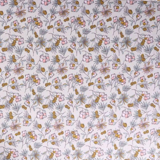 Tissu Jersey Modal Feuilles et fleurs sur fond Bleu ciel - Par 10 cm