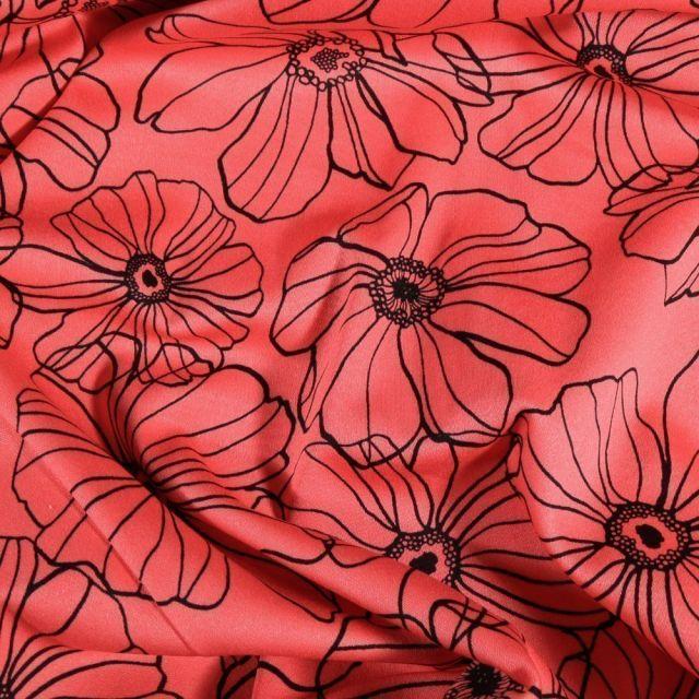 Tissu Coton imprimé extensible Fleurs dessinées sur fond Rouge - Par 10 cm