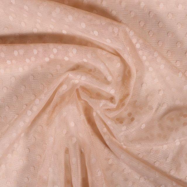 Tissu Tulle Souple Beige Pois - Au mètre