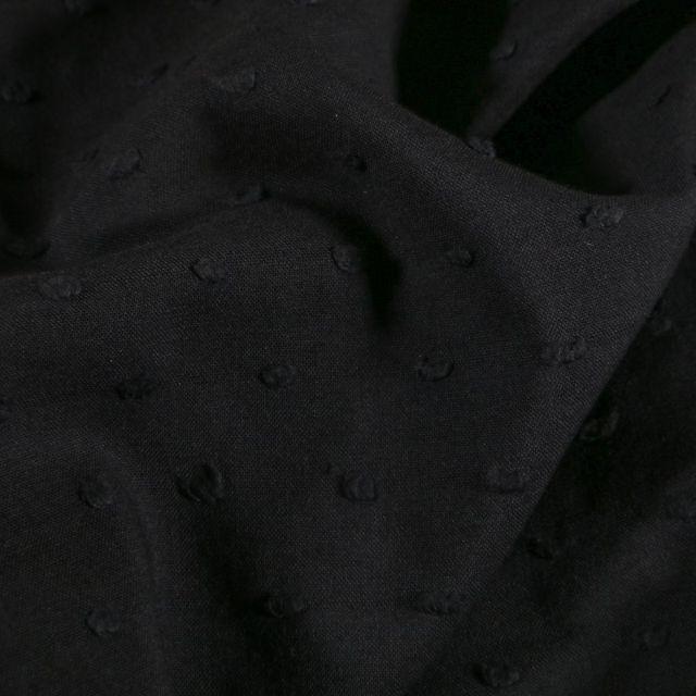 Tissu Plumetis léger  Noir - Par 10 cm