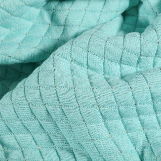 Tissu Sweat léger matelassé Rayures lurex or sur fond Vert menthe - Par 10 cm