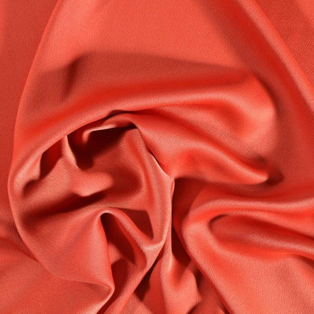 Tissu Crêpe satin mat Orange - Par 10 cm