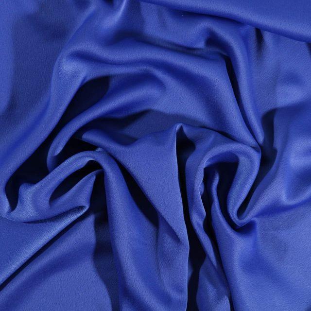 Tissu Crêpe satin mat Bleu roi - Par 10 cm