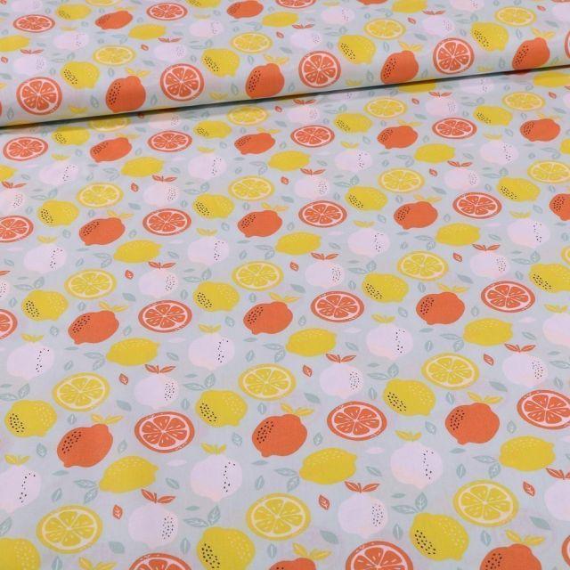 Tissu Coton imprimé Lemon sur fond Vert menthe - Par 10 cm