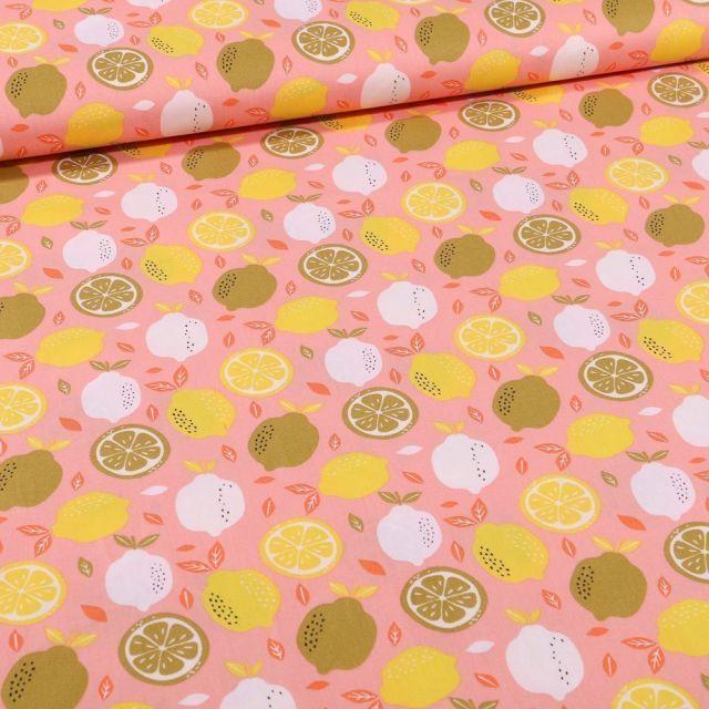 Tissu Coton imprimé Lemon sur fond Rose - Par 10 cm