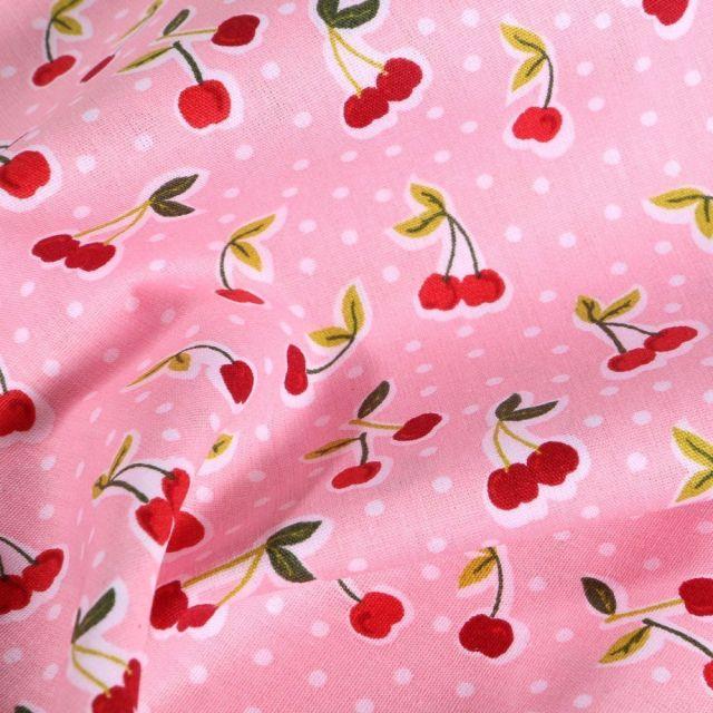 Tissu Coton imprimé LittleBird Cerises Pop sur fond Rose - Par 10 cm
