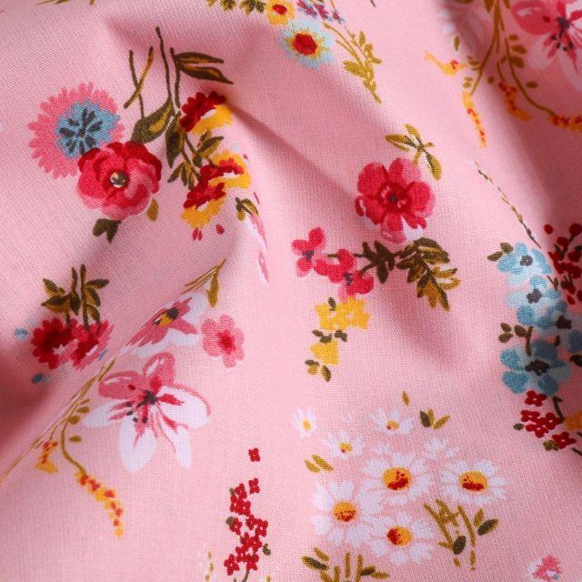 Tissu Coton imprimé Bouquets de fleurs Ella sur fond Rose - Par 10 cm