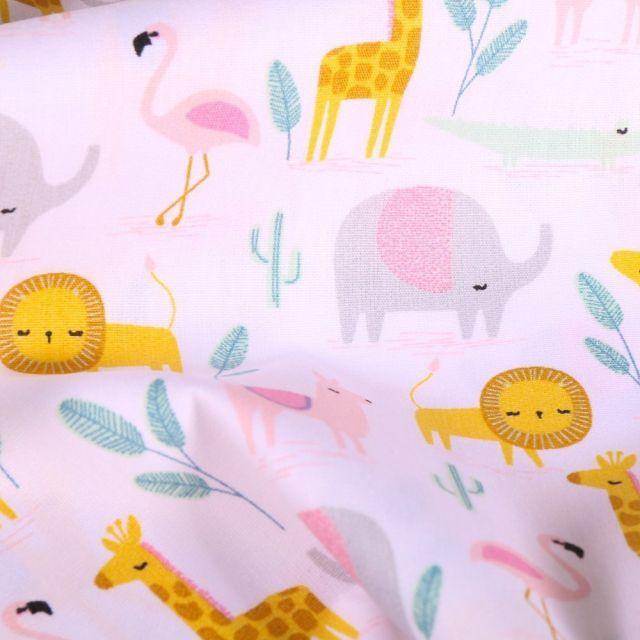 Tissu Coton imprimé LittleBird Animaux Pastels et Cactus sur fond Blanc - Par 10 cm