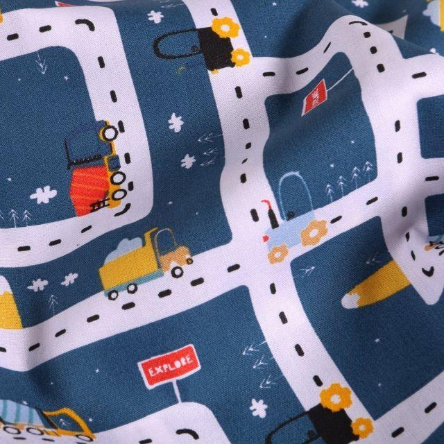 Tissu Coton imprimé LittleBird Ville en travaux sur fond Bleu denim - Par 10 cm