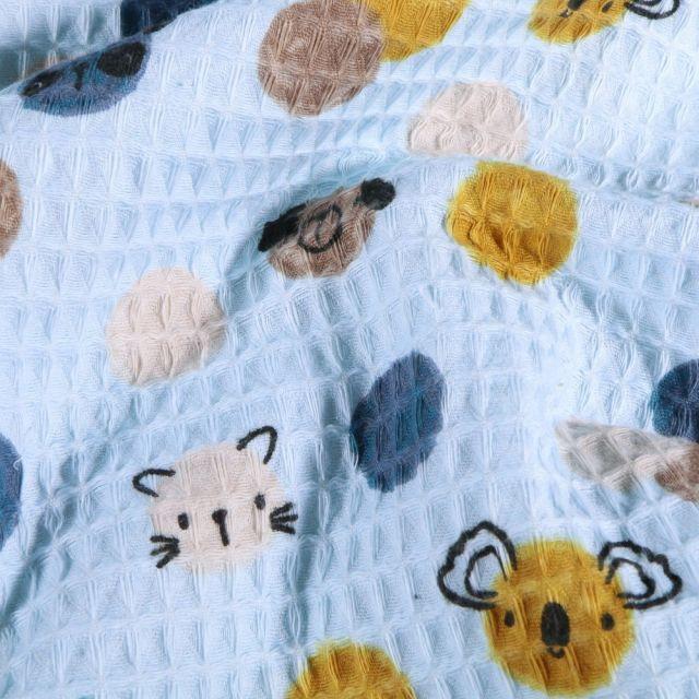 Tissu Nid d'abeille imprimé Couronnes de fleurs et animaux sur fond Bleu - Par 10 cm