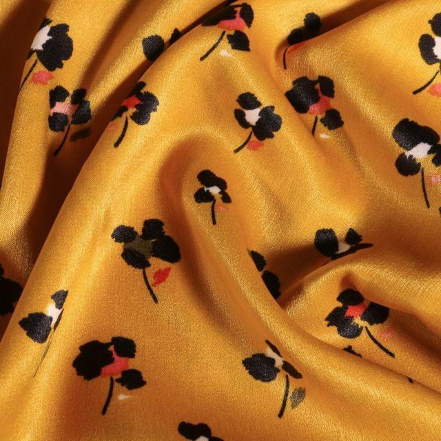 Tissu Satin imprimé Fleurs noirs et colorés sur fond Jaune - Par 10 cm