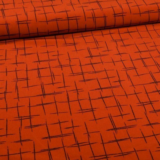 Tissu Satin imprimé Esquisse quadrillé sur fond Rouille - Par 10 cm