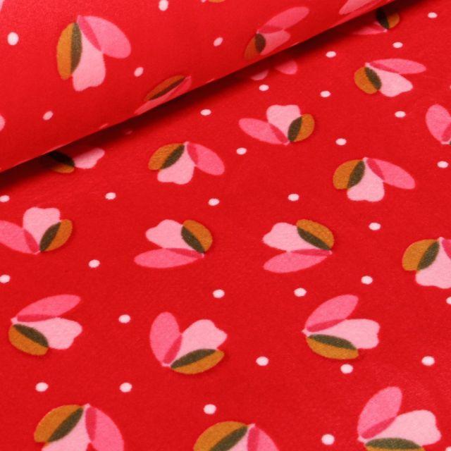 Tissu Jersey Velours Ultra doux Tulipes sur fond Rouge - Par 10 cm
