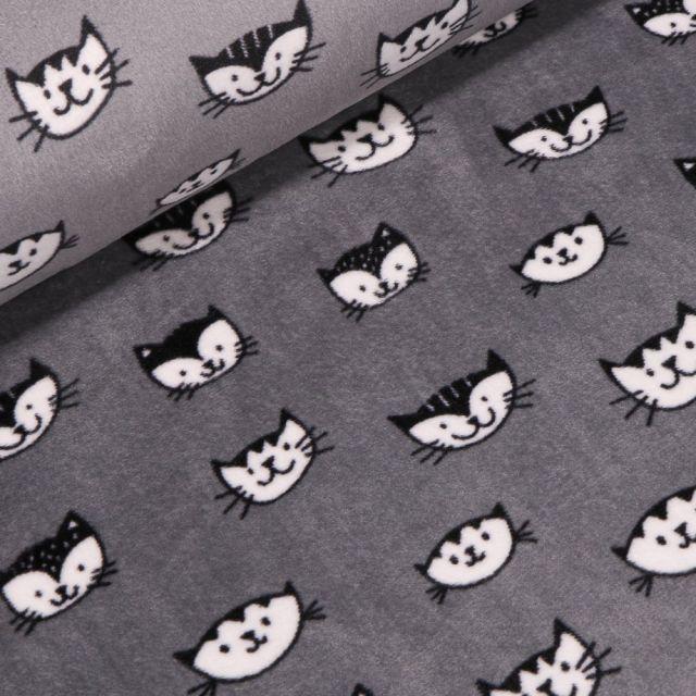 Tissu Jersey Velours Ultra doux Têtes de chats sur fond Gris - Par 10 cm