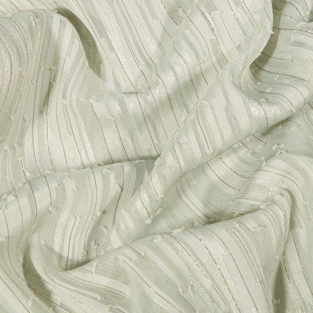 Tissu Voile lurex Rayures sur fond Vert d'eau - Par 10 cm