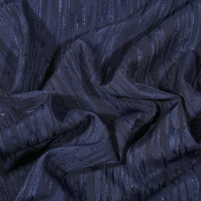 Tissu Voile lurex Rayures sur fond Bleu marine - Par 10 cm