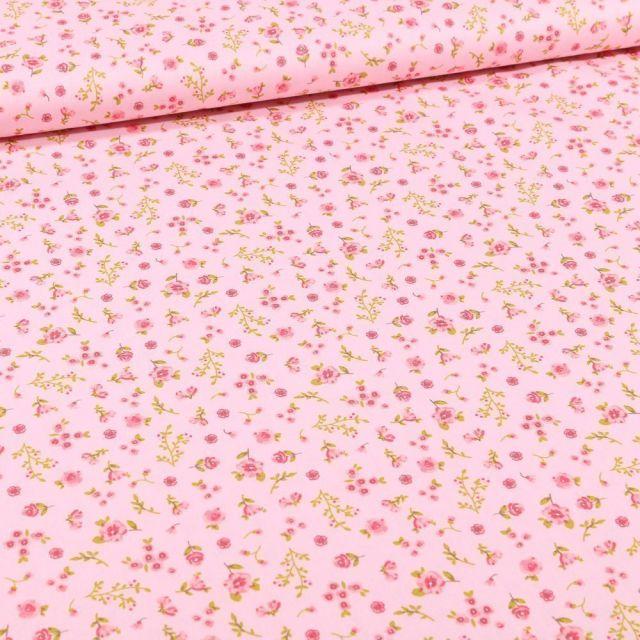 Tissu Coton imprimé Bio Zoé sur fond Rose - Par 10 cm