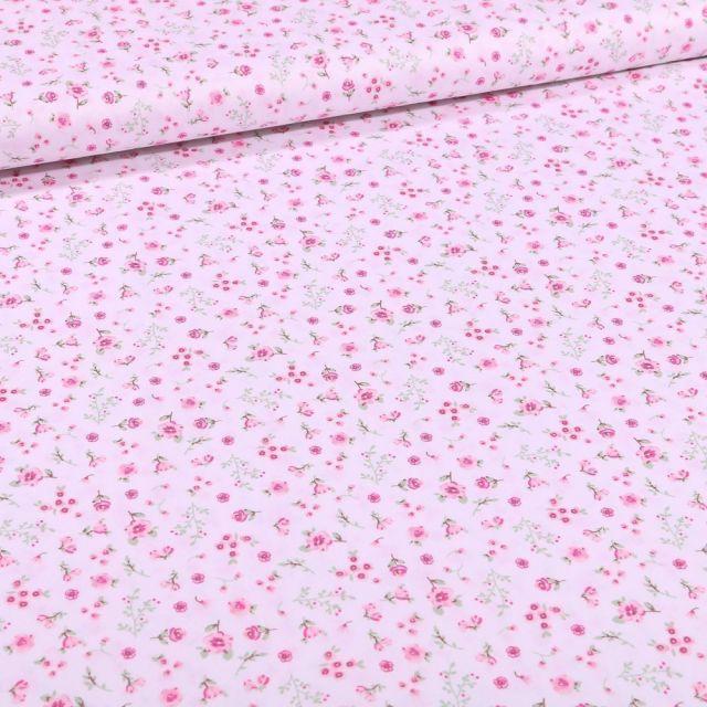 Tissu Coton imprimé Bio Zoé sur fond Blanc - Par 10 cm