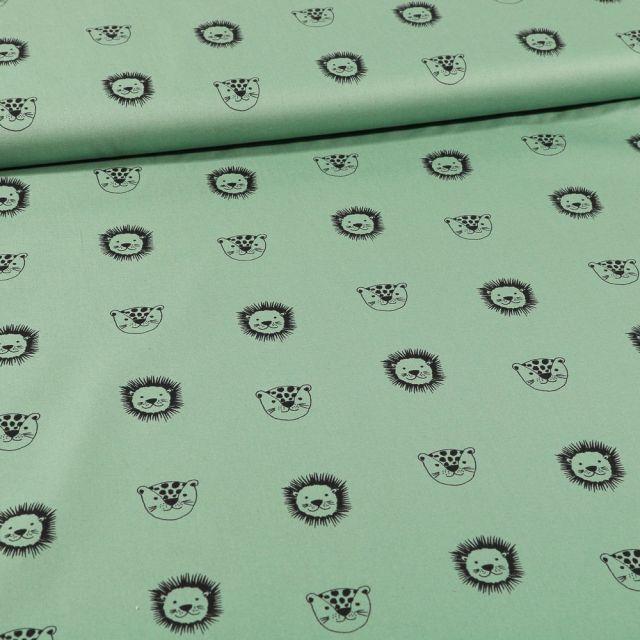 Tissu Coton imprimé Bio Têtes d'animaux sur fond Vert - Par 10 cm