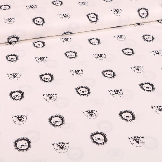 Tissu Coton imprimé Bio Têtes d'animaux sur fond Blanc cassé - Par 10 cm
