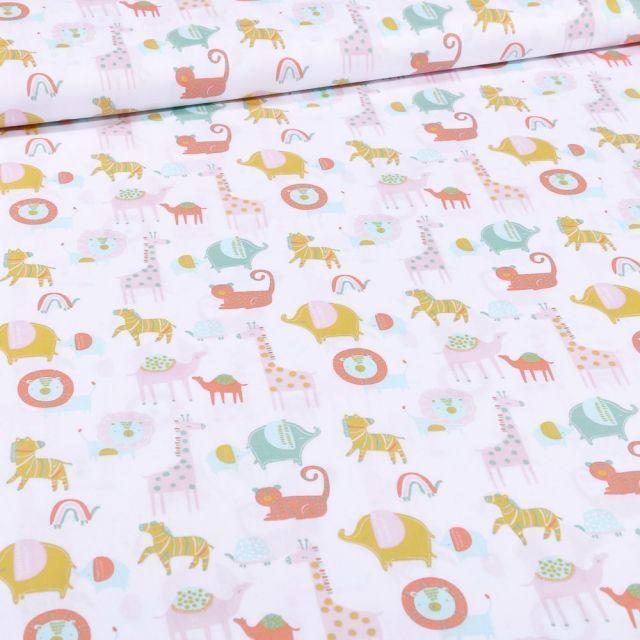 Tissu Coton imprimé Bio Animaux de la savane sur fond Blanc - Par 10 cm