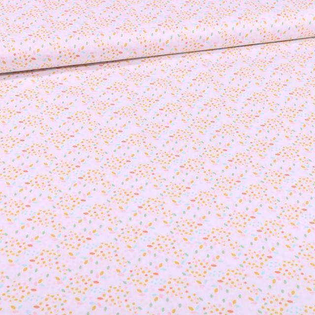 Tissu Coton imprimé Bio Pois multicolores sur fond Blanc - Par 10 cm