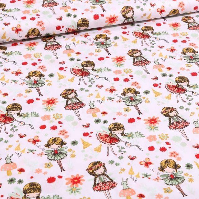 Tissu Coton imprimé Danseuses et pâquerettes sur fond Blanc - Par 10 cm