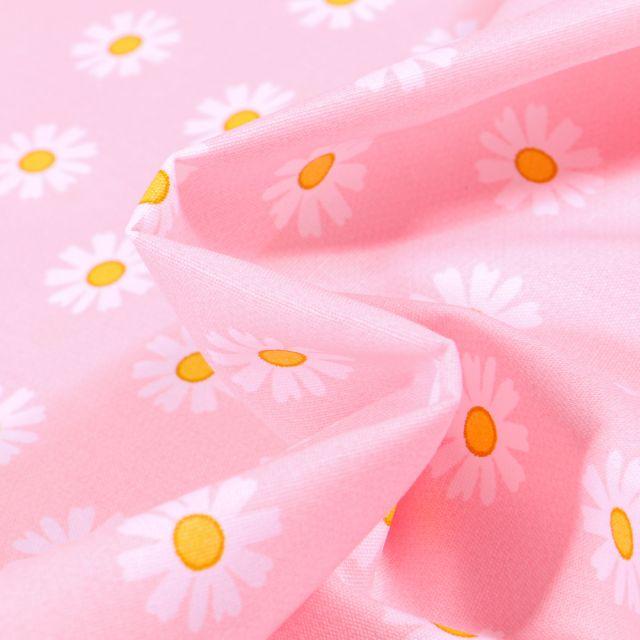 Tissu Coton imprimé LittleBird Pâquerettes sur fond Rose