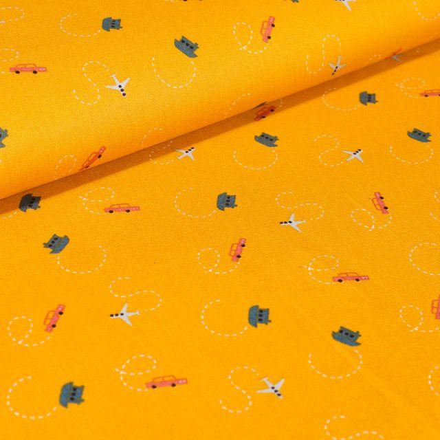 Tissu Coton imprimé LittleBird Voitures avions et bateaux sur fond Jaune
