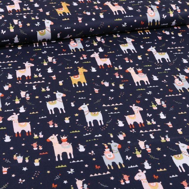 Tissu Coton imprimé LittleBird Lamas et cactus sur fond Bleu marine - Par 10 cm