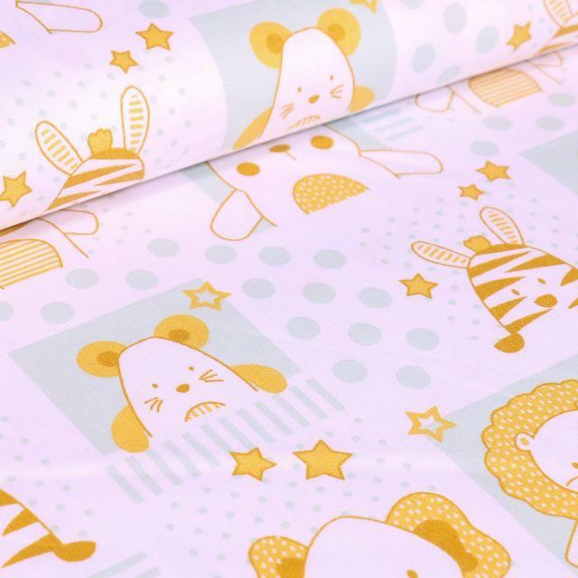 Tissu Coton imprimé LittleBird Baby animaux sur fond Blanc