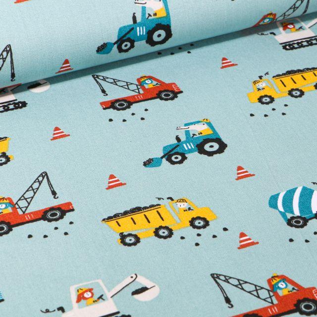 Tissu Coton imprimé LittleBird Camion benne et grue sur fond Bleu