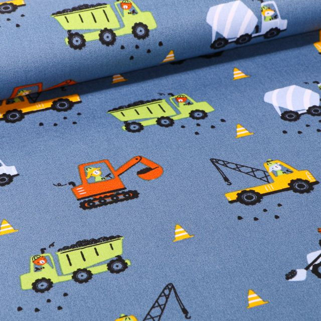 Tissu Coton imprimé LittleBird Camion benne et grue sur fond Bleu denim