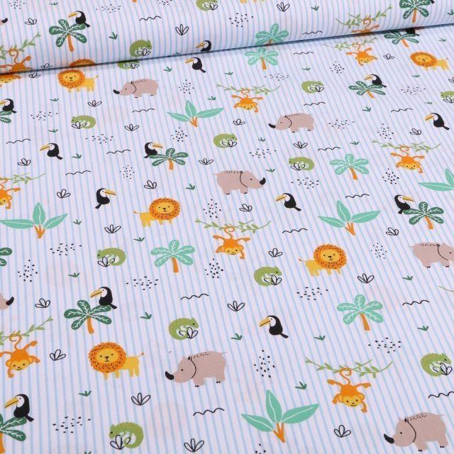 Tissu Coton imprimé Rayures Bleues et animaux de la savane sur fond Blanc - Par 10 cm