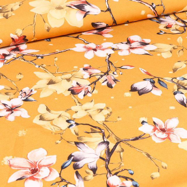 Tissu Satin Stretch Branches fleuris sur fond Jaune