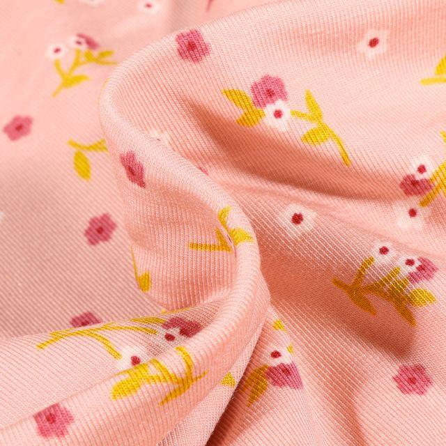 Tissu Jersey Modal Lilly sur fond Rose pâle