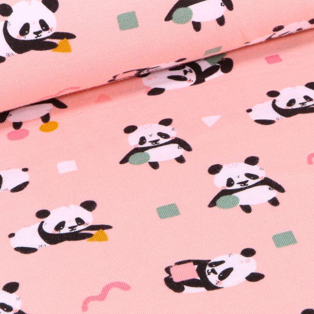 Tissu Jersey Coton Pandas et formes géométriques sur fond Rose