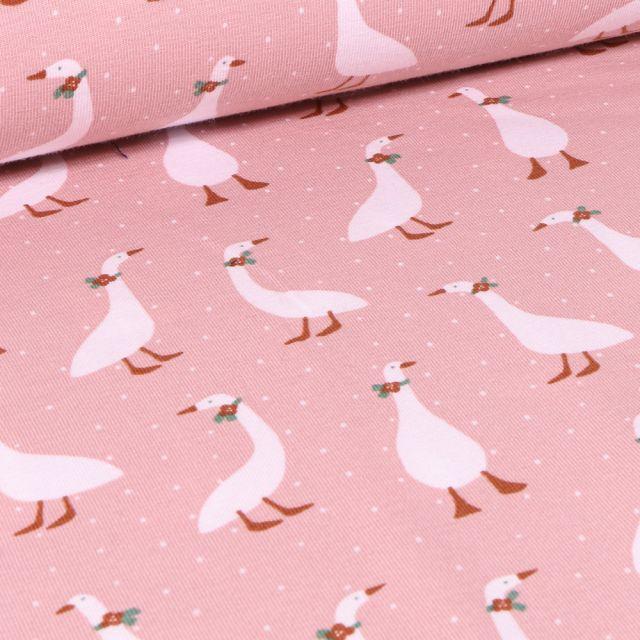 Tissu Jersey Coton Bio Oies coquettes sur fond Rose pâle