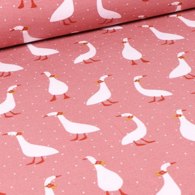 Tissu Jersey Coton Bio Oies coquettes sur fond Rose