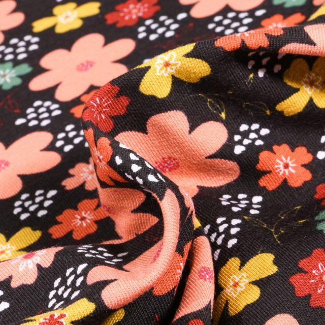 Tissu Jersey Coton Bio Pensées colorées sur fond Noir