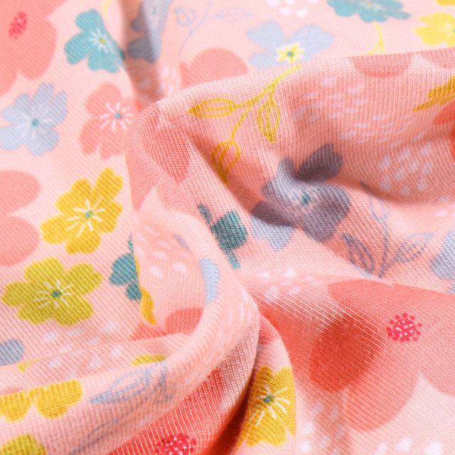 Tissu Jersey Coton Bio Pensées colorées sur fond Rose