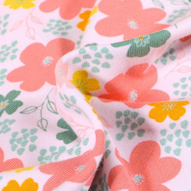 Tissu Jersey Coton Bio Pensées colorées sur fond Blanc
