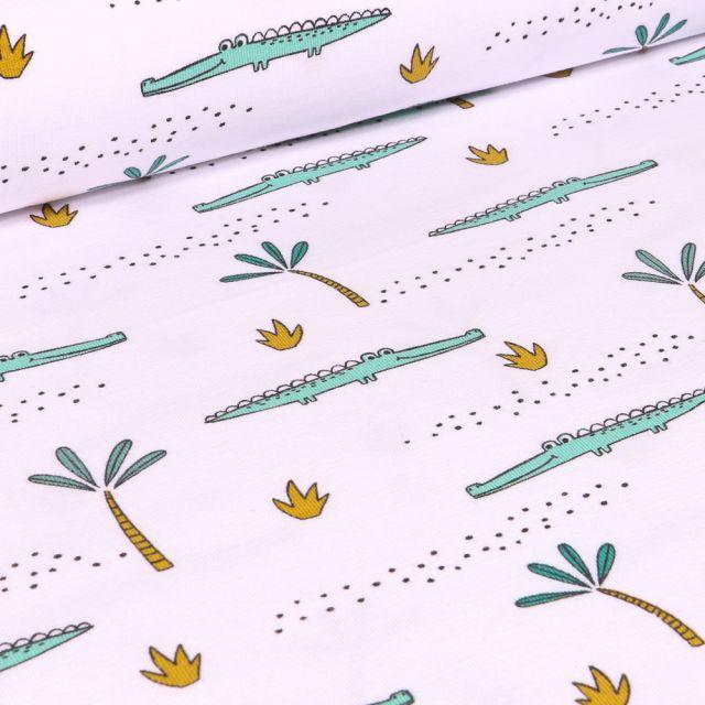 Tissu Jersey Coton Bio Crocodile et palmier sur fond Blanc