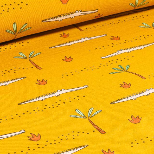 Tissu Jersey Coton Bio Crocodile et palmier sur fond Jaune